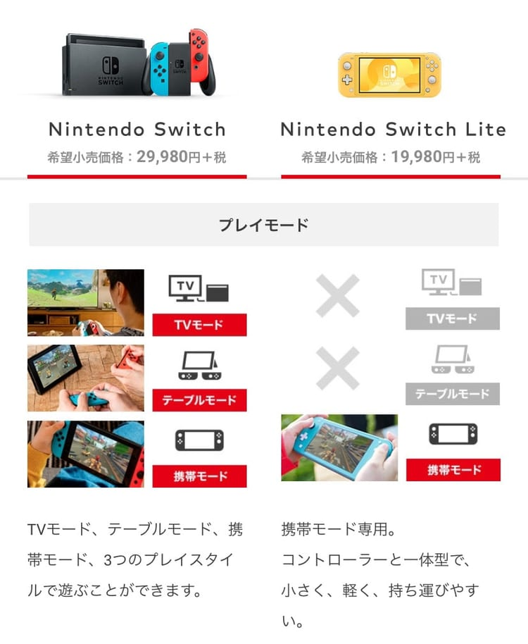 nintendo switch lite 比較
